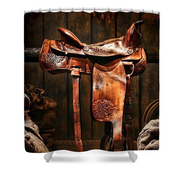 Old Western Saddle Shower Curtain