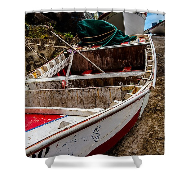 Old Wooden Fishing Boat On Dock  Shower Curtain
