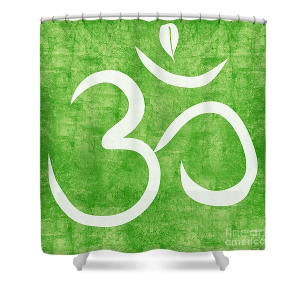 Om Green Shower Curtain