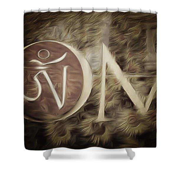 Om Sepia Shower Curtain
