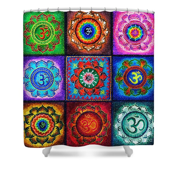 Om Squared Shower Curtain