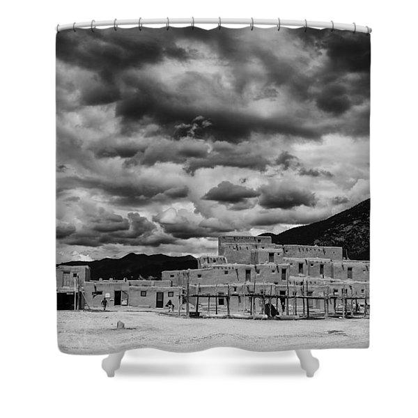 Ominous Clouds Over Taos Pueblo Shower Curtain