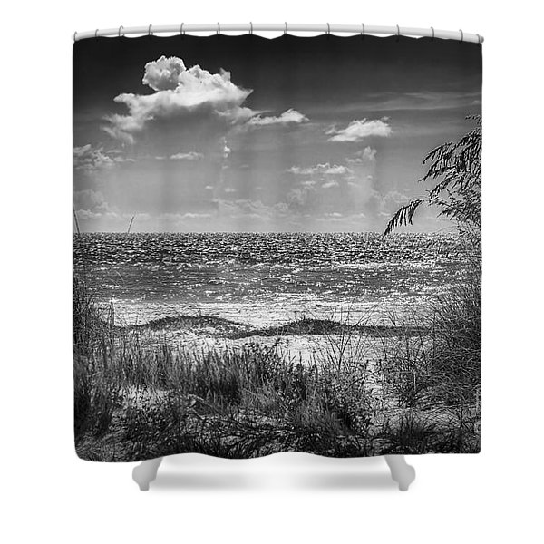 On A Clear Day-bw Shower Curtain