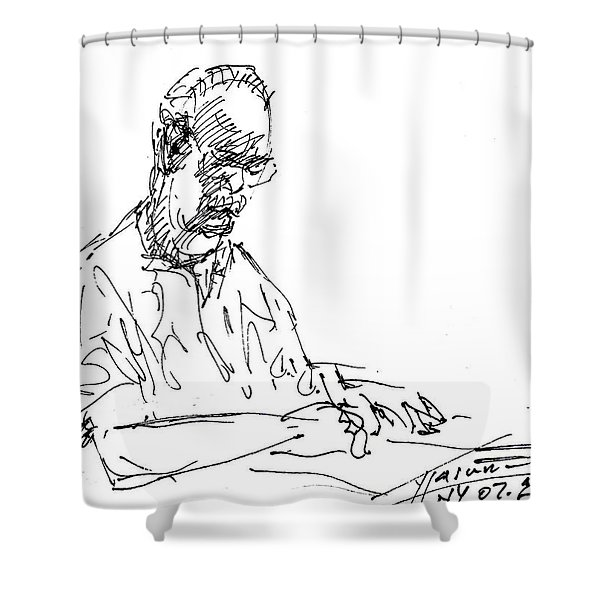 On His Own World Shower Curtain