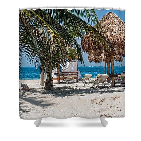 White Sandy Beach In Isla Mujeres Shower Curtain