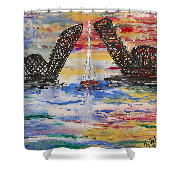 On The Hour. The Sailboat And The Steel Bridge Shower Curtain