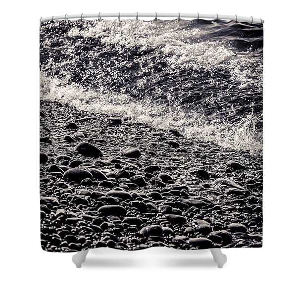 On The Rocks  French Beach Square Shower Curtain
