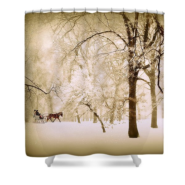One Horse Open Sleigh Shower Curtain