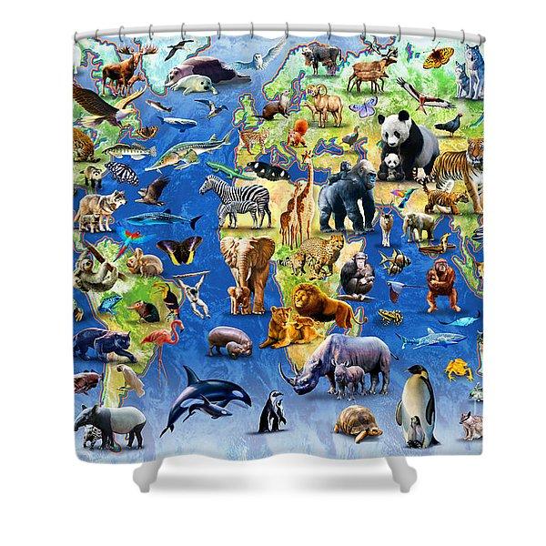 One Hundred Endangered Species Shower Curtain