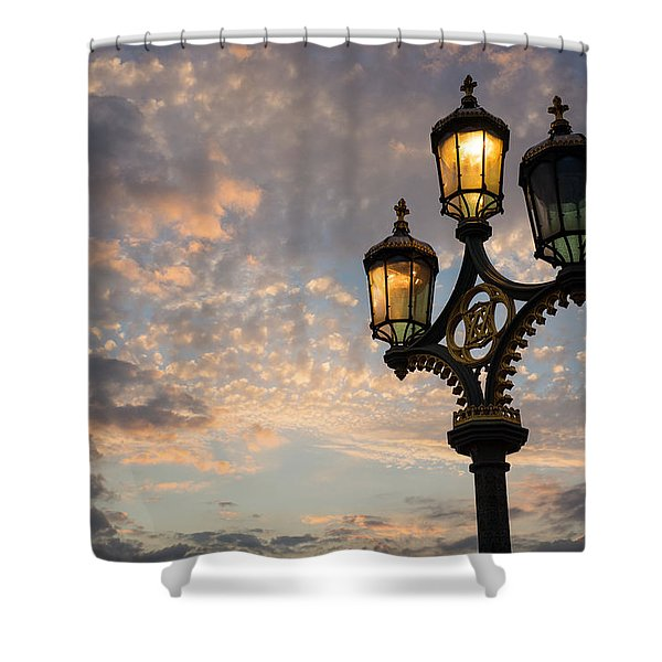 One Light Out - Westminster Bridge Streetlights - River Thames In London Uk Shower Curtain