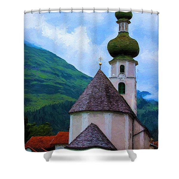 Onion Domed Church - Austria Mountain Village Shower Curtain
