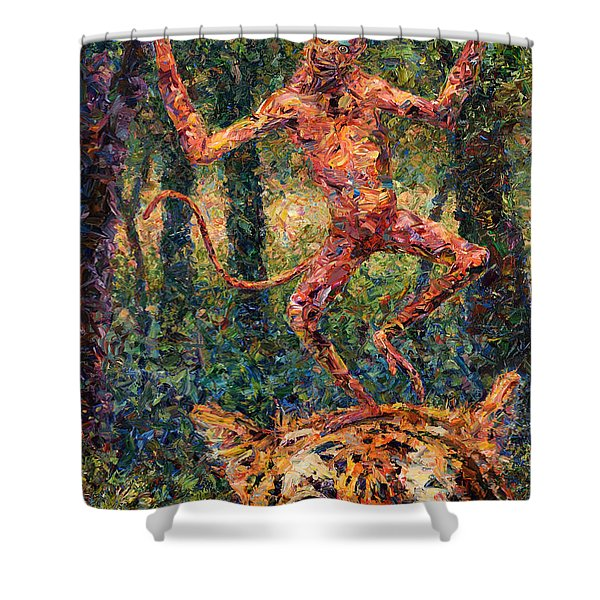 Only A Crazy Monkey Dances On A Tiger's Head Shower Curtain