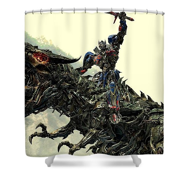 Optimus Prime Riding Grimlock Shower Curtain