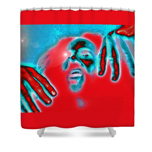 Orange And Blue Figure 2013 Shower Curtain