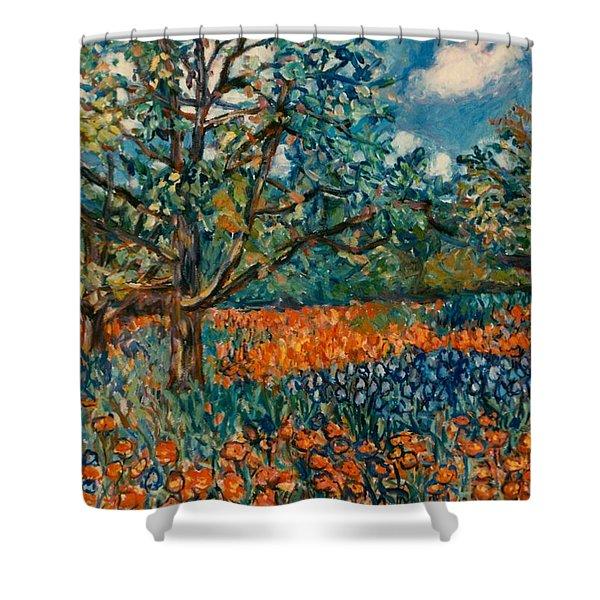 Orange And Blue Flower Field Shower Curtain