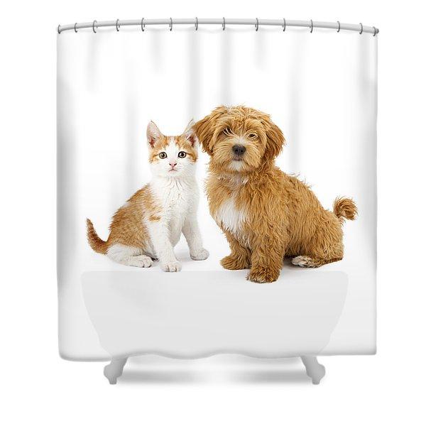 Orange And White Puppy And Kitten Shower Curtain