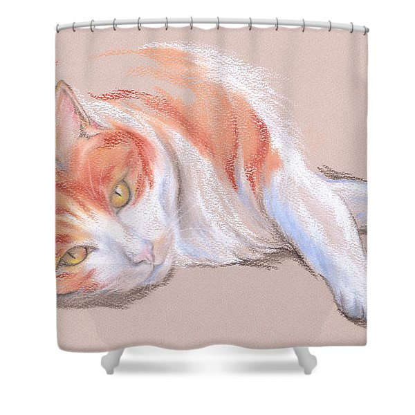 Orange And White Tabby Cat With Gold Eyes Shower Curtain