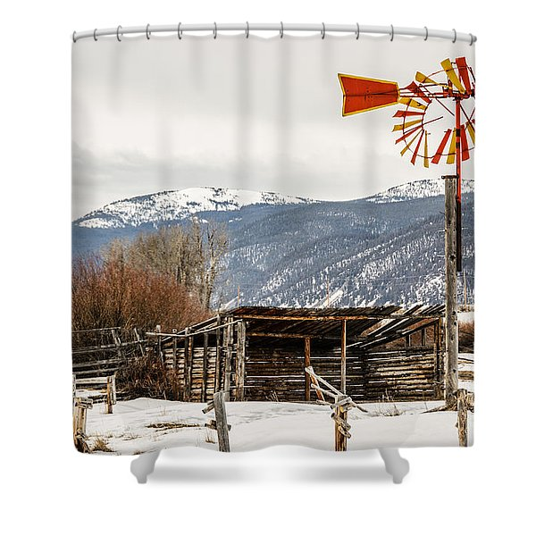 Orange And Yellow Windmill Shower Curtain
