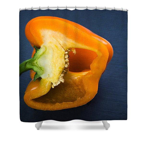 Orange Bell Pepper Blue Texture Shower Curtain