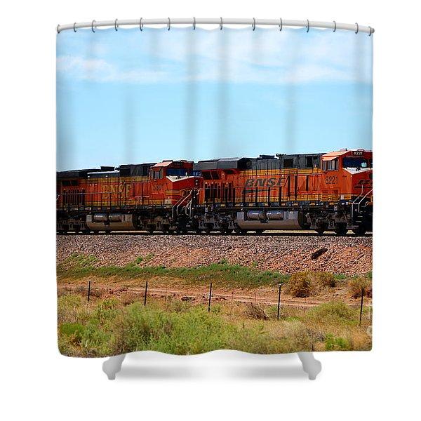 Orange Bnsf Engines Shower Curtain