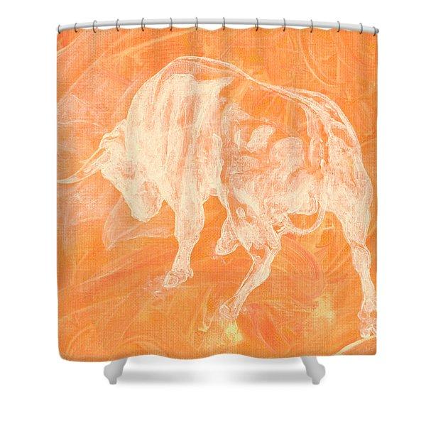 Orange Bull Negative Shower Curtain