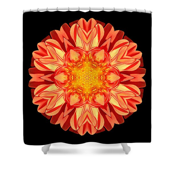 Orange Dahlia Flower Mandala Shower Curtain
