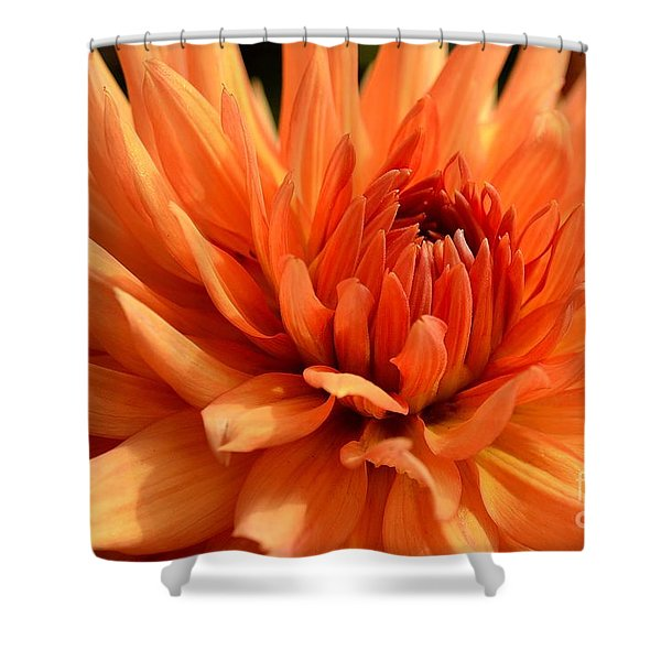 Shower Curtain featuring the photograph Orange Dahlia by Scott Lyons