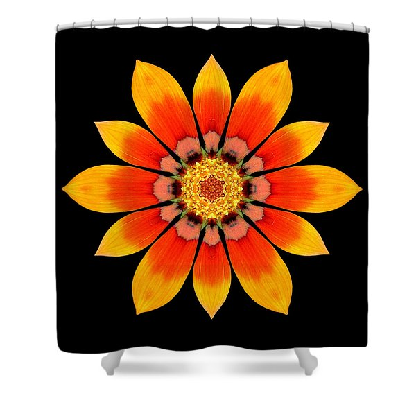 Orange Gazania I Flower Mandala Shower Curtain