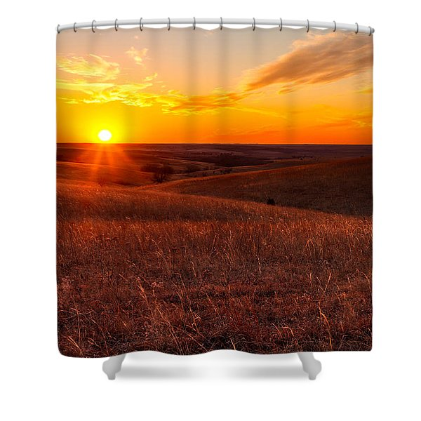 Orange Glow Of A Sunset In Kansas Flint Hills Shower Curtain
