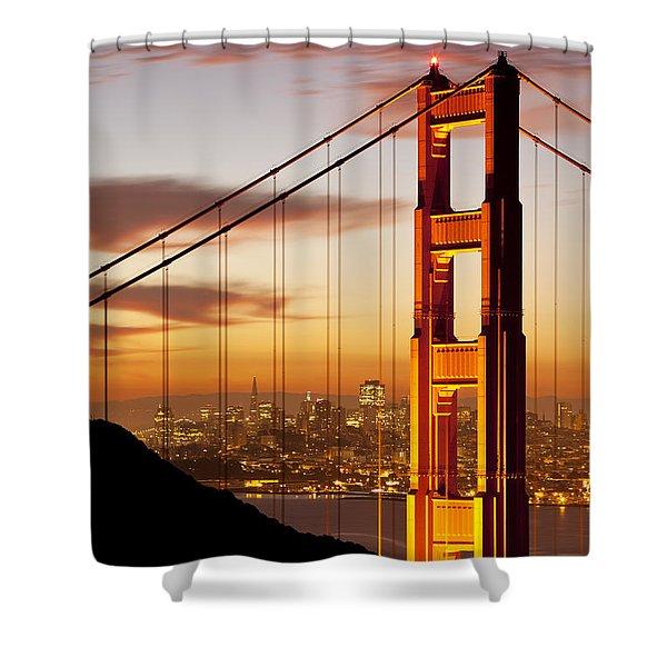 Shower Curtain featuring the photograph Orange Light At Dawn by Brian Jannsen