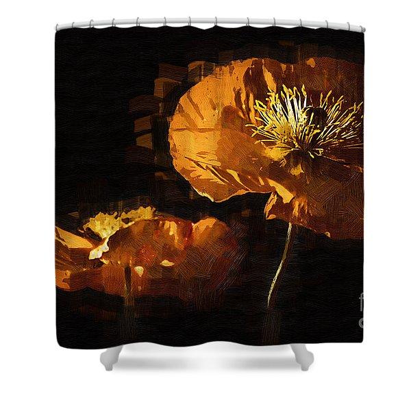 Orange Poppies Two Shower Curtain