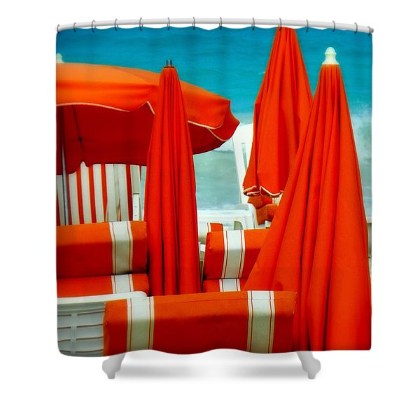 Orange Umbrellas Shower Curtain