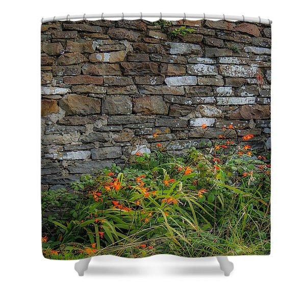 Orange Wildflowers Against Stone Wall Shower Curtain