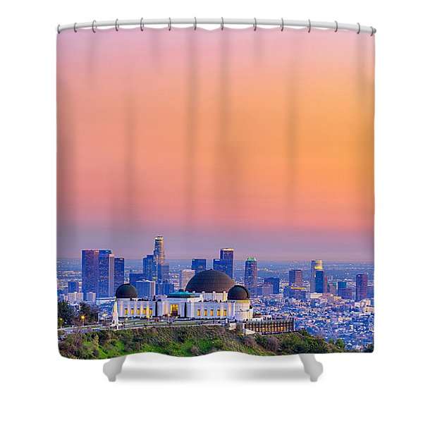 Orangesicle Griffith Observatory Shower Curtain