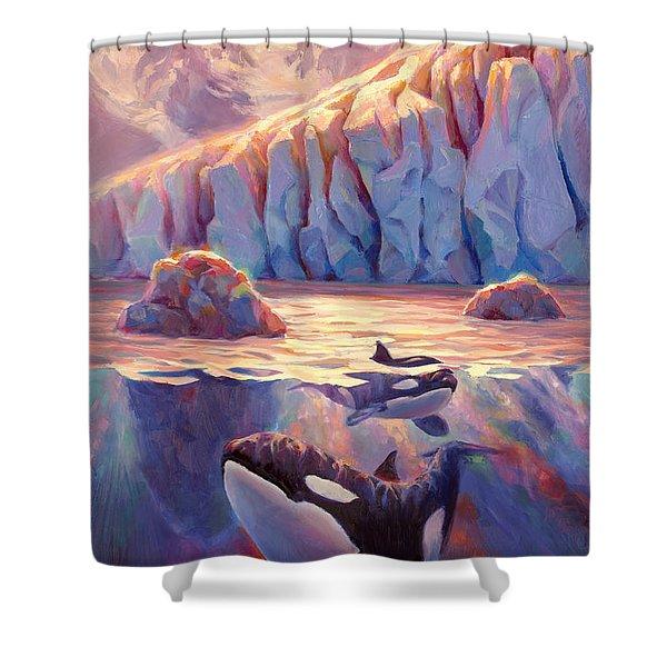 Orca Sunrise At The Glacier Shower Curtain
