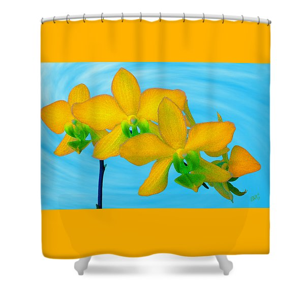 Orchid In Yellow Shower Curtain