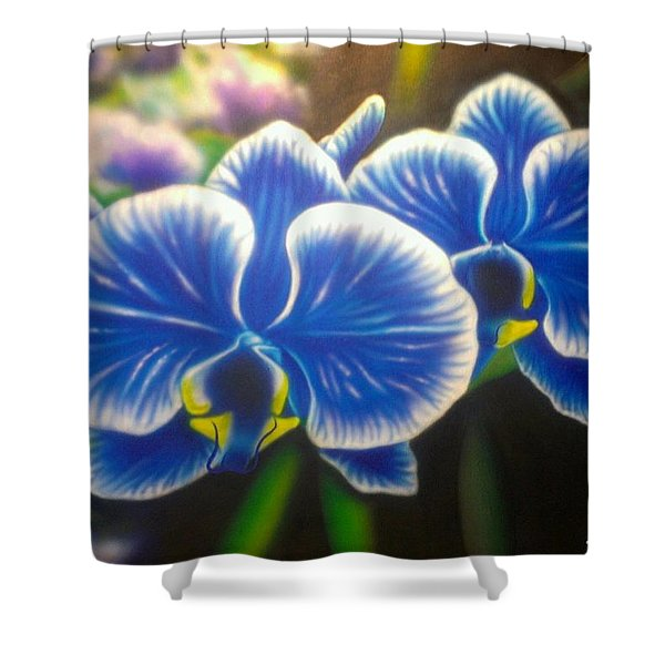Orchid-strated Blues Shower Curtain