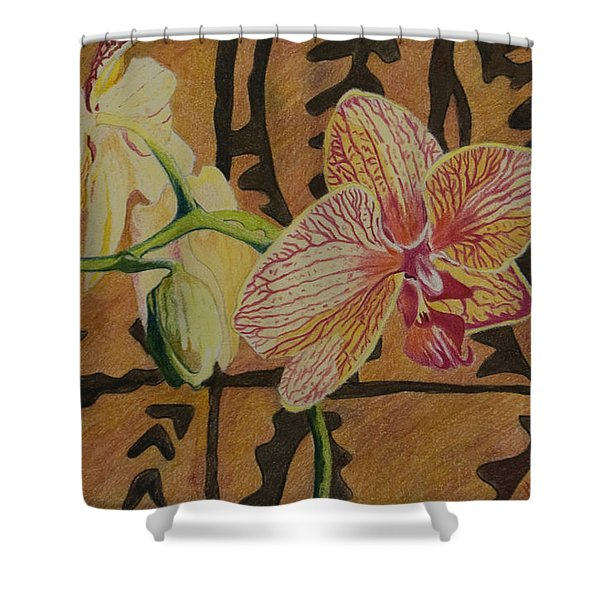 Orchid With Tapa Shower Curtain