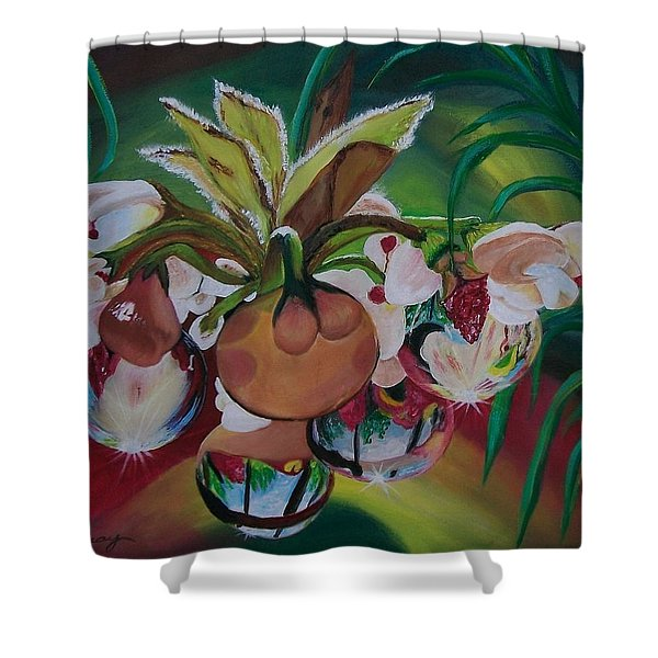 Orchids In Raindrop Reflections Shower Curtain