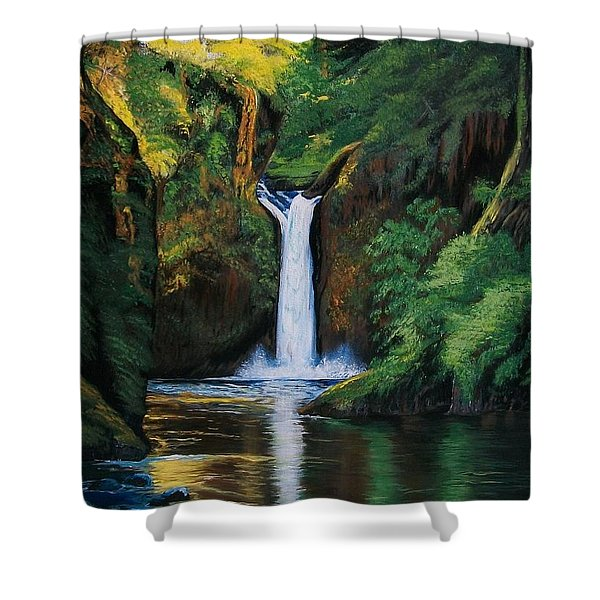 Oregon's Punchbowl Waterfalls Shower Curtain