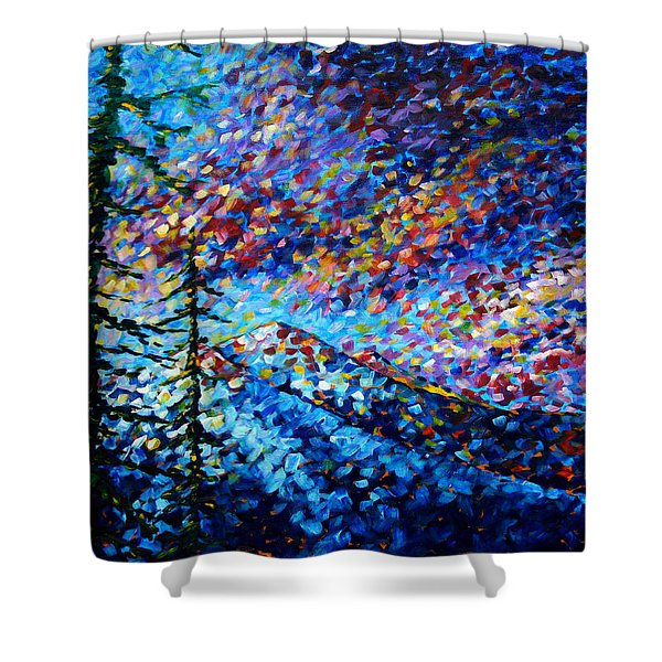Original Abstract Impressionist Landscape Contemporary Art By Madart Mountain Glory Shower Curtain
