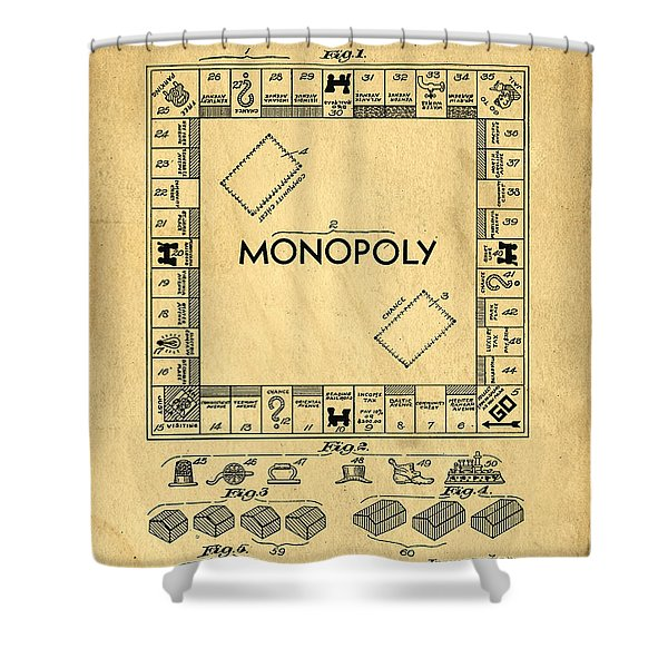 Original Patent For Monopoly Board Game Shower Curtain
