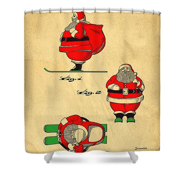 Shower Curtain featuring the digital art Original Patent For Santa On Skis Figure by Edward Fielding