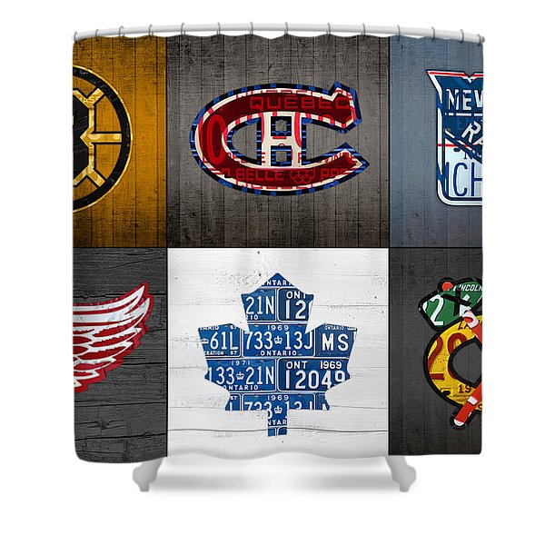 Original Six Hockey Team Retro Logo Vintage Recycled License Plate Art Shower Curtain