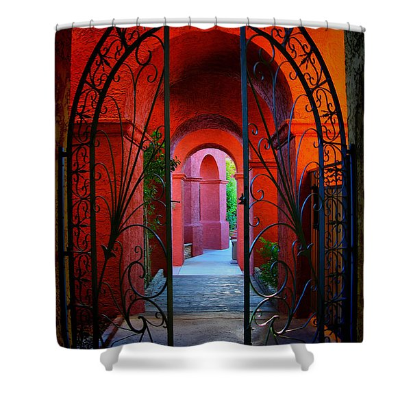Ornate Gate To Red Archway Shower Curtain