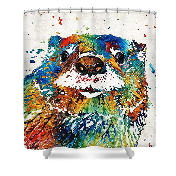 Otter Art - Ottertude - By Sharon Cummings Shower Curtain