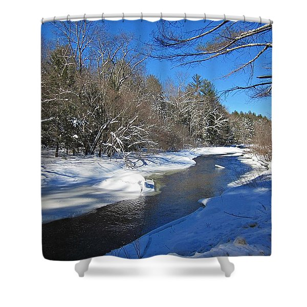 Otter Brook In Winter Shower Curtain