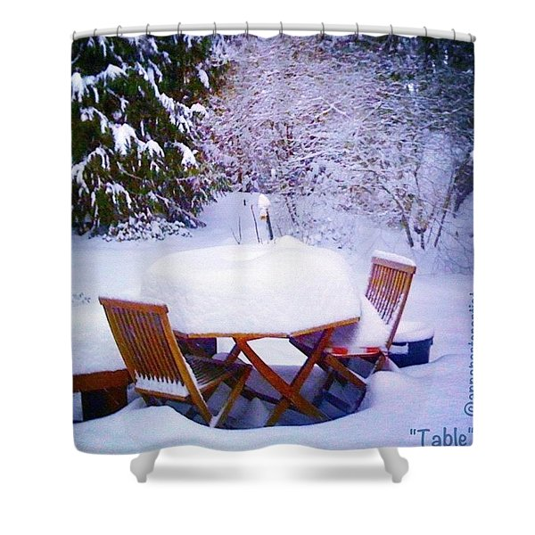 Our Deck Table In The Snow Shower Curtain