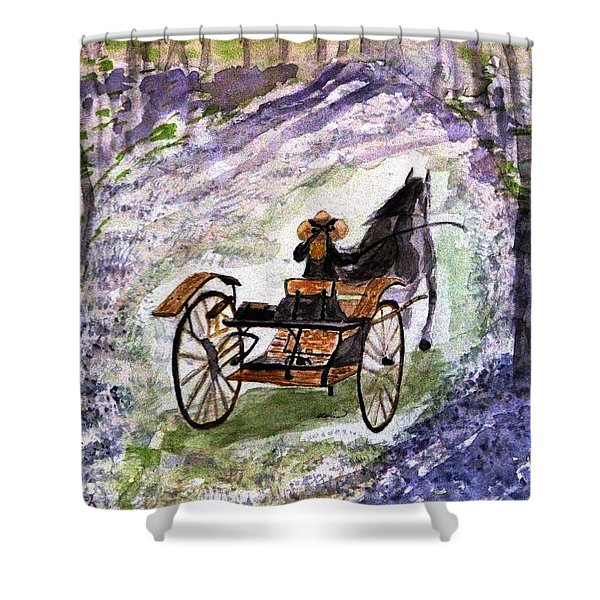 Out In The Meadowbrook Cart Shower Curtain