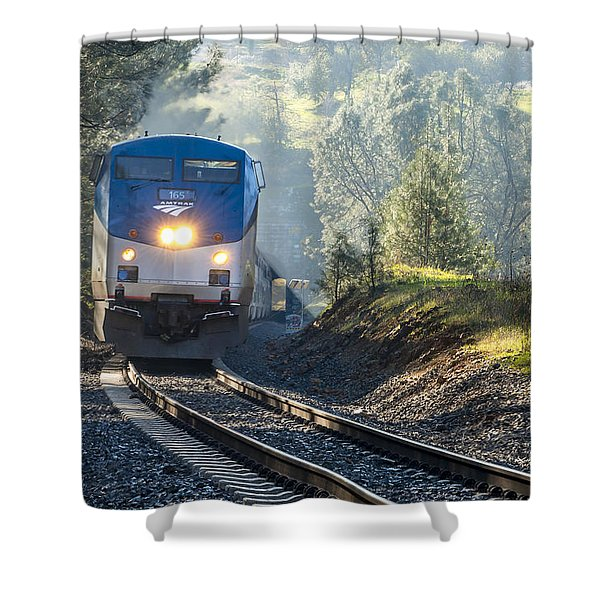 Shower Curtain featuring the photograph Out Of The Mist by Jim Thompson
